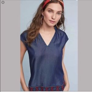 Chloe Oliver | Chambray Embroidered Top